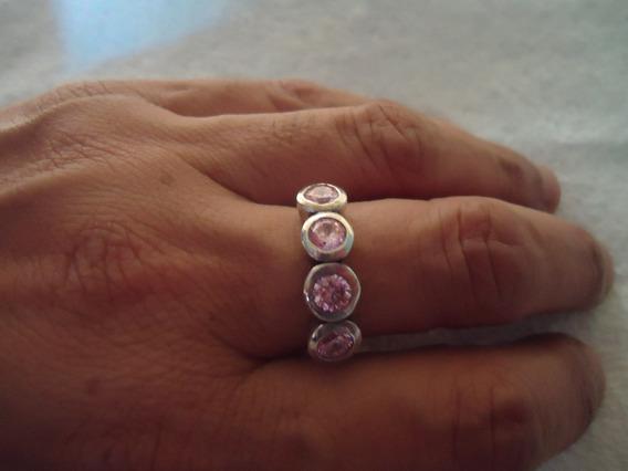 Anel 4 Pedras Rosa - Prata De Lei 925