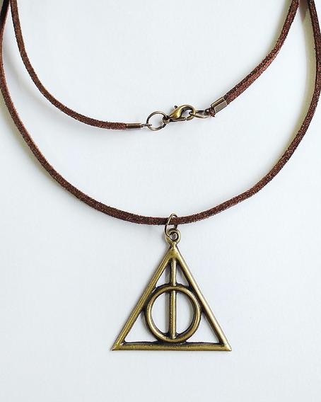 Colar Harry Potter - Relíquias Da Morte - Ouro Velho