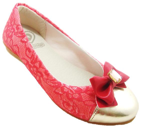 Sapato Juvenil Vermelha Laço Com Biqueira Dourada 090003