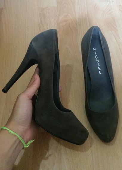 Zapatos Tacones Michael Españoles Piel Suede 100% Originales