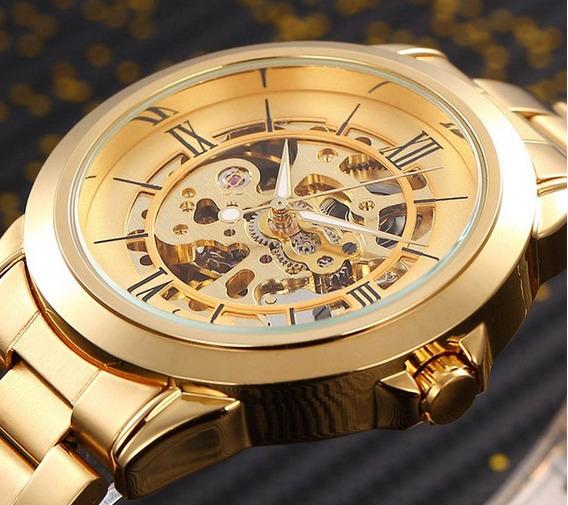 Relógio Masculino Automático Luxo Em Inox Dourado Esqueleto