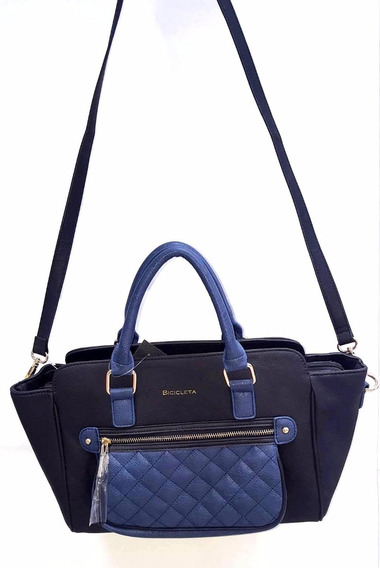 Cartera Negra Con Bolsillo En Azul