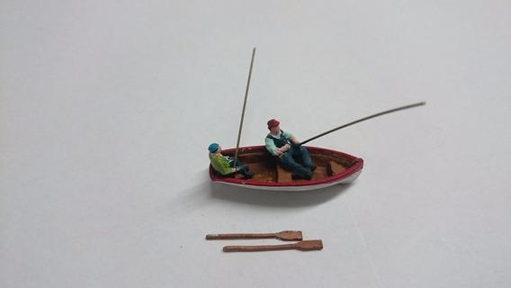 Barco Com 2 Pescadores Kit P/ Pintar Ho Paiolmodelismo