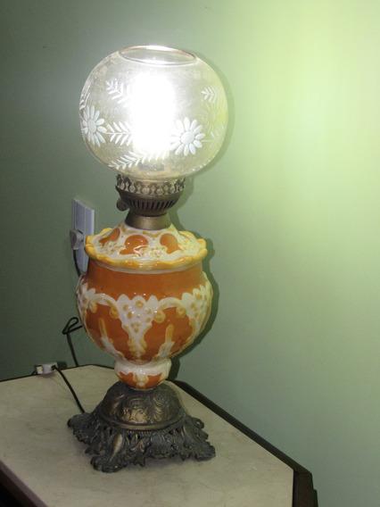 Abajour/lampião Em Porcelana, Bronze Cúpula Em Demi Cristal