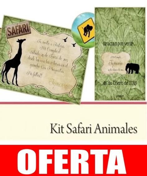 Kit Imprimible Safari Animales Cumpleaños Infantiles Selva