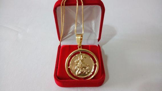 Medalha Top De São Jorge Com Corrente Banhado A Ouro 18k