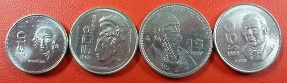 Mexico Set De 4 Monedas Padres De La Patria 1983 - 1989