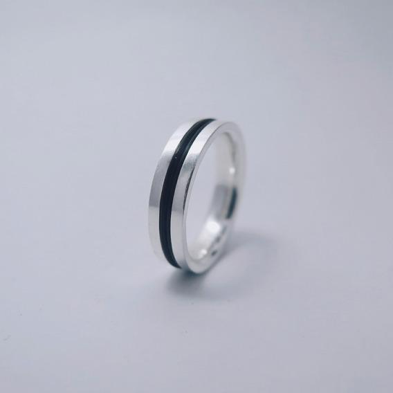 Anel Prata 925 E Rubber, Masculino Ou Feminino