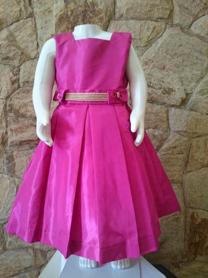Vestido Infantil Festa Casamento Luxo Tafetá Pink C/pérolas