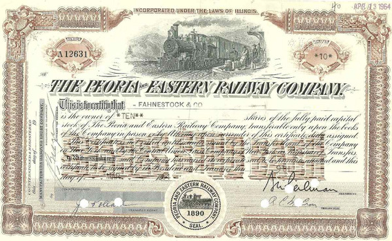 Cautela De 10 Açoes The Peoria Easterv Railway Company