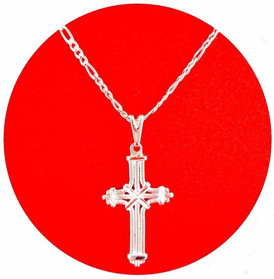 Corrente + Pingente Crucifixo 2 Conjuntos Folheado A Prata