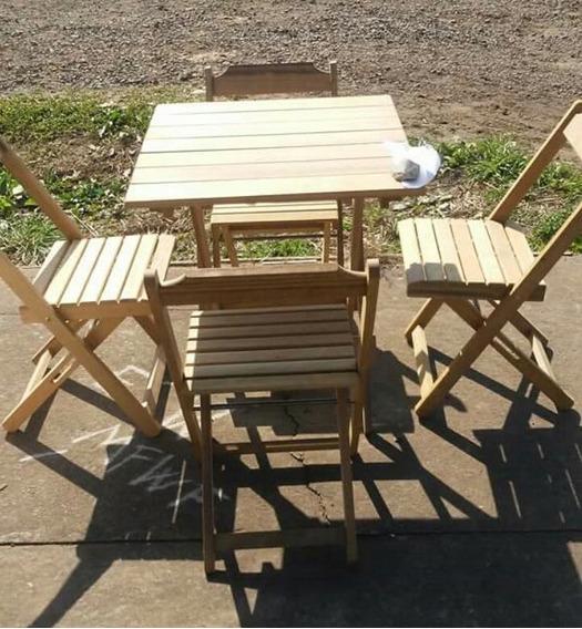 Mesa Dobravel Tipo Boteco De Madeira Com 4 Cadeiras