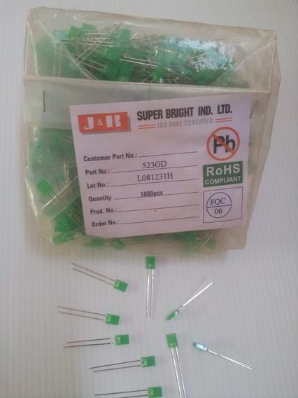 Led Retangular Difuso Verde Rohs - 100 Peças