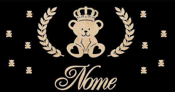 Painel De Quarto Bebê Mdf Crú Tema Urso Príncipe Nobor Baby