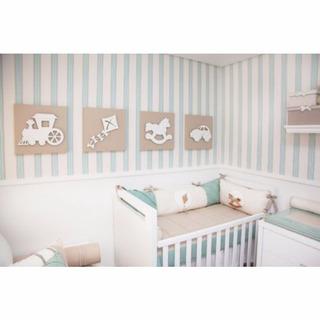 Papel De Parede Infantil Bebê Listras Azul Claro Marrom 19 U