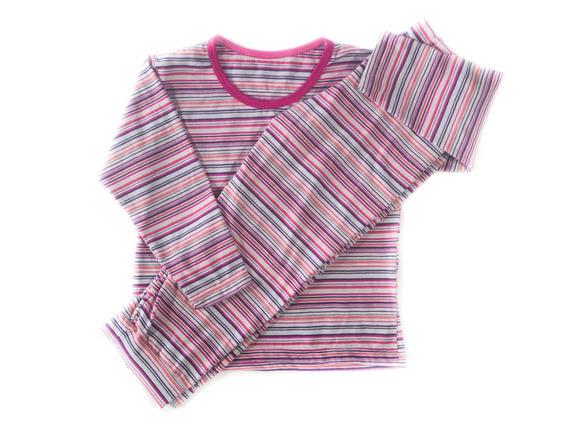 Pijama Listrado Rosa Manga Longa
