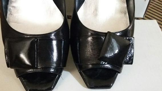 Zapatos De Fiesta En Cuero Negro Talle 40
