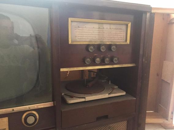 Mueble Antiguo Con Tv, Radio Y Tornamesa Marca Admiral
