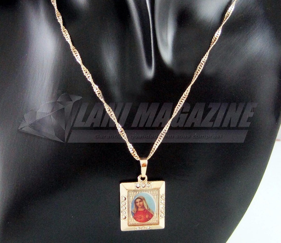 Corrente Cordão Pingente Virgem Maria Banhada Ouro 18k
