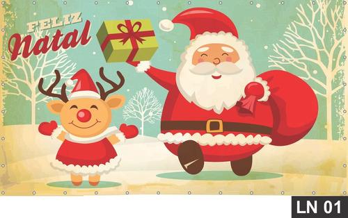 Imagem 1 de 6 de Painel De Festa Natal Cristo Papai Noel 4,50x1,60m Lona