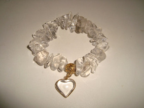Pulseira Elástica Pedra Quartzo Cristal Natural Pingente