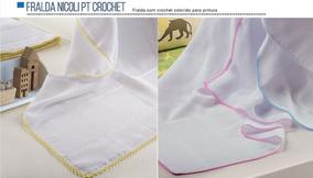 Fralda Mabber Com Crochet 80x80 - Pintar E Bordar - C/3