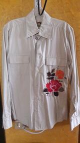 Camisa Zara Caballero Ch 36 Flor Bordada