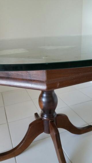 Mesa Pé De Madeira Com Tampo De Vidro E 4 Cadeiras Coloridas