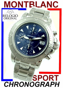 Montblanc Sport Diver Cronoógrafo Auto Aço-aço Blue !!!