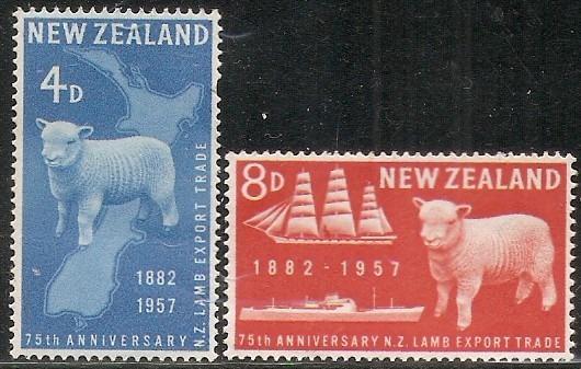 Exportación Ovina - Nueva Zelanda 1957 - Serie Mint Completa 359/60