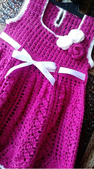 Vestido E Faixa Em Crochê Bebê Verão