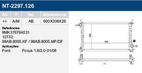 Radiador Água Do Motor Ford Focus 1.8 2.0 2001 A 2008