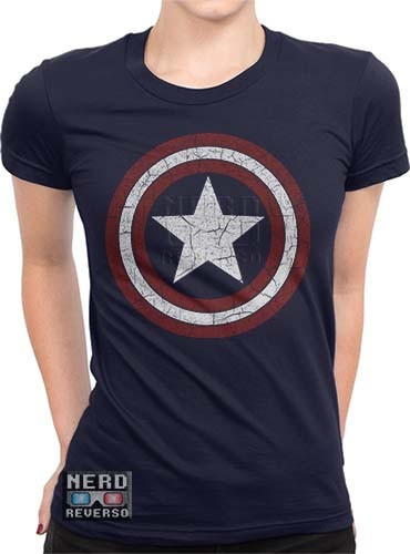 Baby Look Capitão América Escudo Desgastado Herói Vingadores