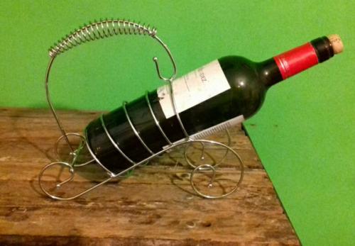Porta Vino O Botella De Metal Cromado