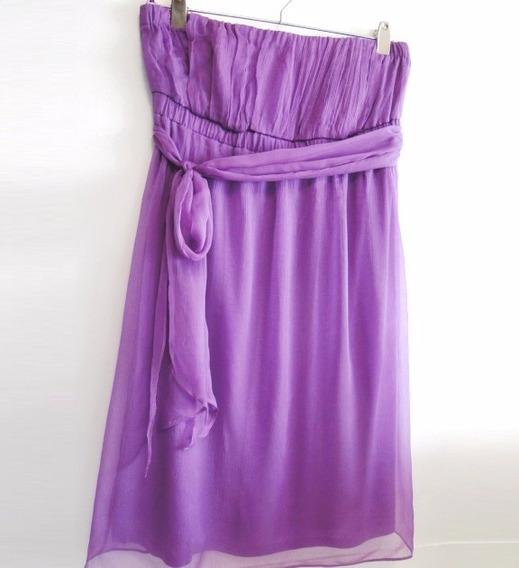 Soñado!! Vestido De Gasa Strapless Lila Talle M