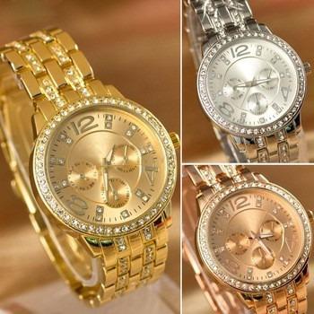 Kit 4 Relógios Feminino Geneva Luxury C/ Strass Frete Grátis