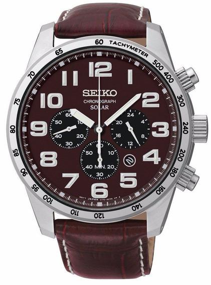 Reloj Seiko Adventure Solar Classic Cronógrafo Piel Ssc227