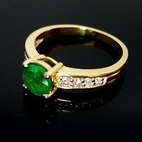 Anel De Ouro Esmeralda Diamantes