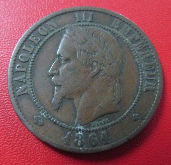Francia Moneda 10 Centimos Franco 1861 Vf Napoleon Iii