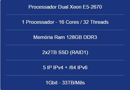 Servidor Dedicado Dual Xeon E5-2670-128gb Ram-2x2tb Ssd-5 Ip