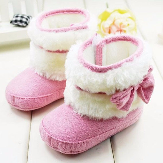 Sapato Bota Botinha Laço Pelúcia Bebê Menina Pronta-entrega