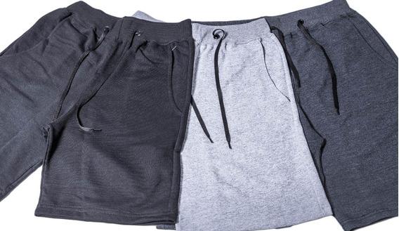 Bermuda De Moletom Moleton Kit Com 3 Bermudas Três Shorts