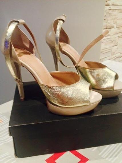 Sandalia De Salto Alto Dourada
