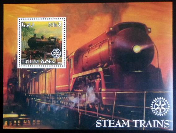 Eritrea Trenes Vapor, Bloque 1 Sello 2002 Mint L7480