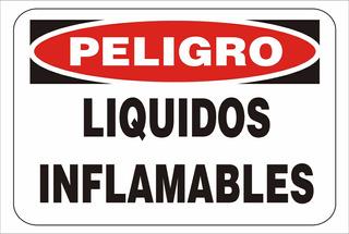 Cartel Peligro Líquidos Inflamables - Alto Impacto 30x40 Cm