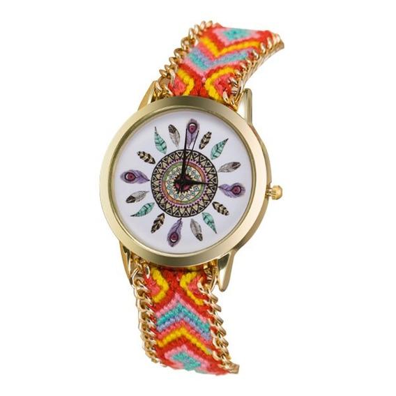 Relógio De Pulso Peruano Colorido Pena Hora Tempo