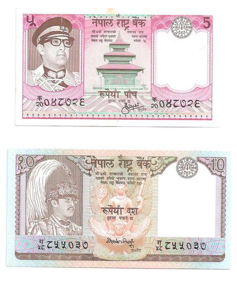 2 Cedulas Estrangeiras - Nepal 5 E 10 Rupias - Fe