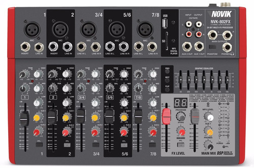 Consola Mixer Novik Nvk-802fx Usb 8 Canales Slim Efectos 6pa
