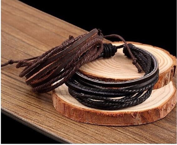 2 Pulseiras Couro Legítimo Tribal Masculina Bracelete Homem