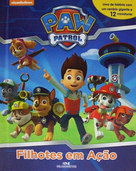 Livro Patrulha Canina Com 12 Miniaturas - Filhotes Em Ação
